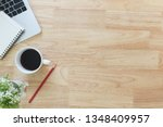 flay lay  top view office table ...   Shutterstock . vector #1348409957