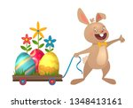 happy easter greeting card with ... | Shutterstock .eps vector #1348413161