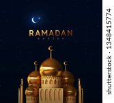 Ramadan vector background. Mosque building realistic 3d design. Night blue view of starry sky bright moon, light half a month. Design greeting card, banner, poster. Traditional Islamic holy holiday