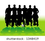 Soccer team silhouettes - vector illustration! - stock vector