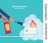 extinguish fire wiring in home. ... | Shutterstock .eps vector #1348424831