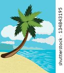 cartoon tropical beach with...   Shutterstock .eps vector #134843195
