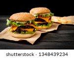 homemade and fresh tasty burger ...   Shutterstock . vector #1348439234