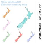 new zealand sketchy country.... | Shutterstock .eps vector #1348457444