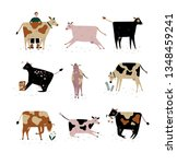 cows of different breeds set ... | Shutterstock .eps vector #1348459241