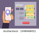 hand holding mobile smart phone ... | Shutterstock .eps vector #1348468421