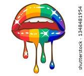 dripping lips  vector clipart   Shutterstock .eps vector #1348481954