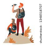 couple hiking man and woman... | Shutterstock .eps vector #1348518707
