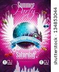 vector summer beach party flyer ... | Shutterstock .eps vector #134853044