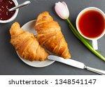 early breakfast. croissants... | Shutterstock . vector #1348541147
