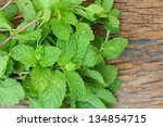 pepper mint leaves on old wood... | Shutterstock . vector #134854715