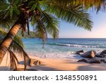 exotic beach at sunset on... | Shutterstock . vector #1348550891