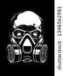 white skull in respirator on... | Shutterstock .eps vector #1348562981