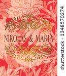 classic wedding card with... | Shutterstock .eps vector #1348570274