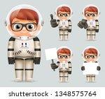 boy space sci fi cosmonaut... | Shutterstock . vector #1348575764