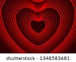 neon red glowing laser heart...   Shutterstock .eps vector #1348583681