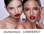 gorgeous girls wearing evening... | Shutterstock . vector #1348583927