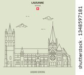lausanne cathedral in lausanne  ... | Shutterstock .eps vector #1348597181