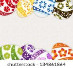 easter eggs with floral pattern ... | Shutterstock .eps vector #134861864