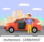 satisfied car owner  enthusiast ... | Shutterstock .eps vector #1348644437