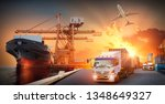 container truck in ship port... | Shutterstock . vector #1348649327