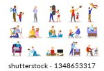 father spend time with children ... | Shutterstock .eps vector #1348653317