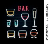 neon glasses and shots of... | Shutterstock .eps vector #1348663397