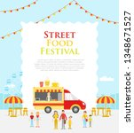 illustration of food truck on... | Shutterstock . vector #1348671527