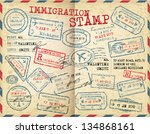 collection of immigration... | Shutterstock .eps vector #134868161