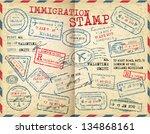 immigration stamp. passport... | Shutterstock .eps vector #134868161