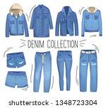 light blue denim clothing.... | Shutterstock .eps vector #1348723304