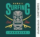 vintage surfing paradise label... | Shutterstock .eps vector #1348768901