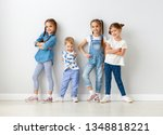 happy kids friends around the... | Shutterstock . vector #1348818221