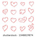 hand drawn hearts. vector set... | Shutterstock .eps vector #1348819874
