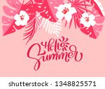 text hello summer in floral... | Shutterstock .eps vector #1348825571