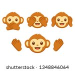 cute cartoon monkey face emoji... | Shutterstock . vector #1348846064