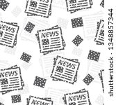 seamless pattern with newspaper.... | Shutterstock .eps vector #1348857344