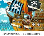 cartoon scene with pirate ship... | Shutterstock . vector #1348883891