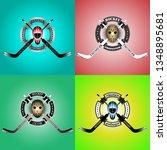 set hockey goalkeepers hockey... | Shutterstock .eps vector #1348895681