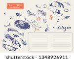 hand drawn fast food restaurant ... | Shutterstock .eps vector #1348926911