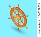 sea steering wheel. a ship... | Shutterstock .eps vector #1348928591