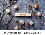easter festive background with... | Shutterstock . vector #1348932764