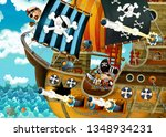 cartoon scene with pirate ship... | Shutterstock . vector #1348934231