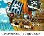 cartoon scene with pirate ship... | Shutterstock . vector #1348934234