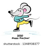 cute little mouse is skating.... | Shutterstock . vector #1348938377
