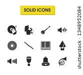 melody icons set with vinyl ...