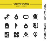 healthcare icons set with teeth ...