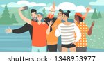 a girl makes a group selfie... | Shutterstock .eps vector #1348953977