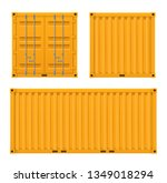 cargo bright yellow container... | Shutterstock .eps vector #1349018294