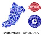 best service collage of blue... | Shutterstock .eps vector #1349073977